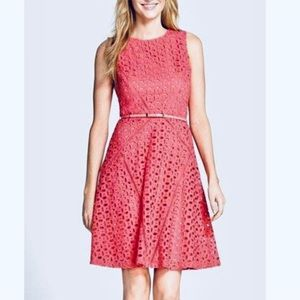 Ellen Tracy eyelet lace corel fit and flare dress